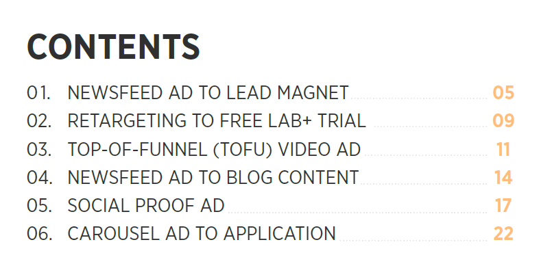 lead magnet table of contents