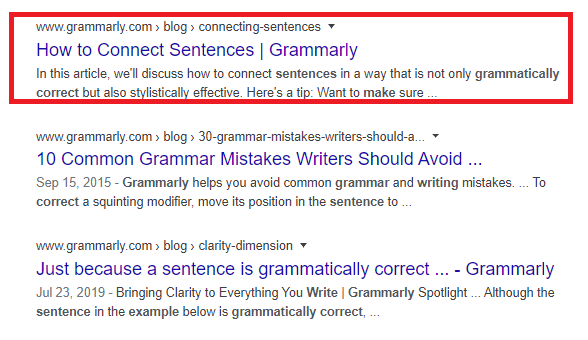 Google results how to connect sentences