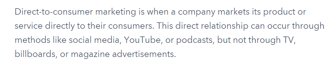 direct to consumer marketing definition