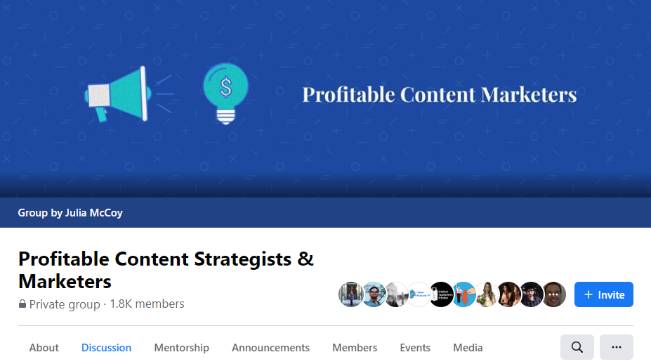 profitable content marketers Facebook group