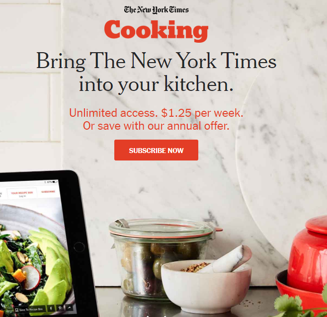 NYT cooking subscription