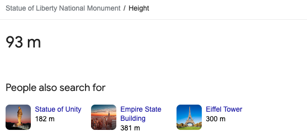 featured snippet statue of liberty