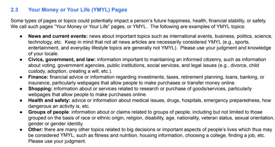Your Money or Your Life (YMYL)