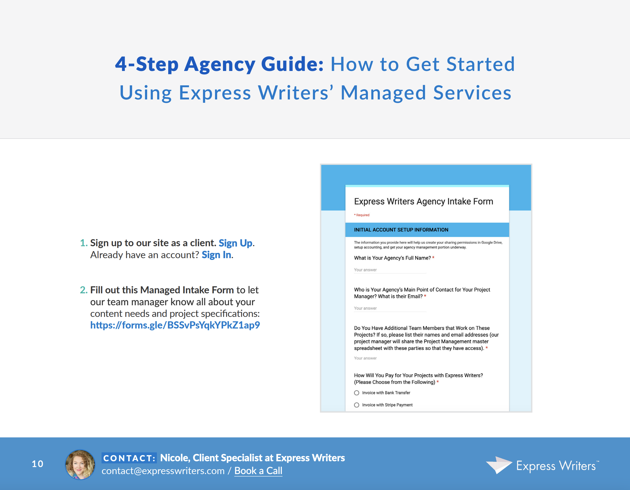 express writers agency services
