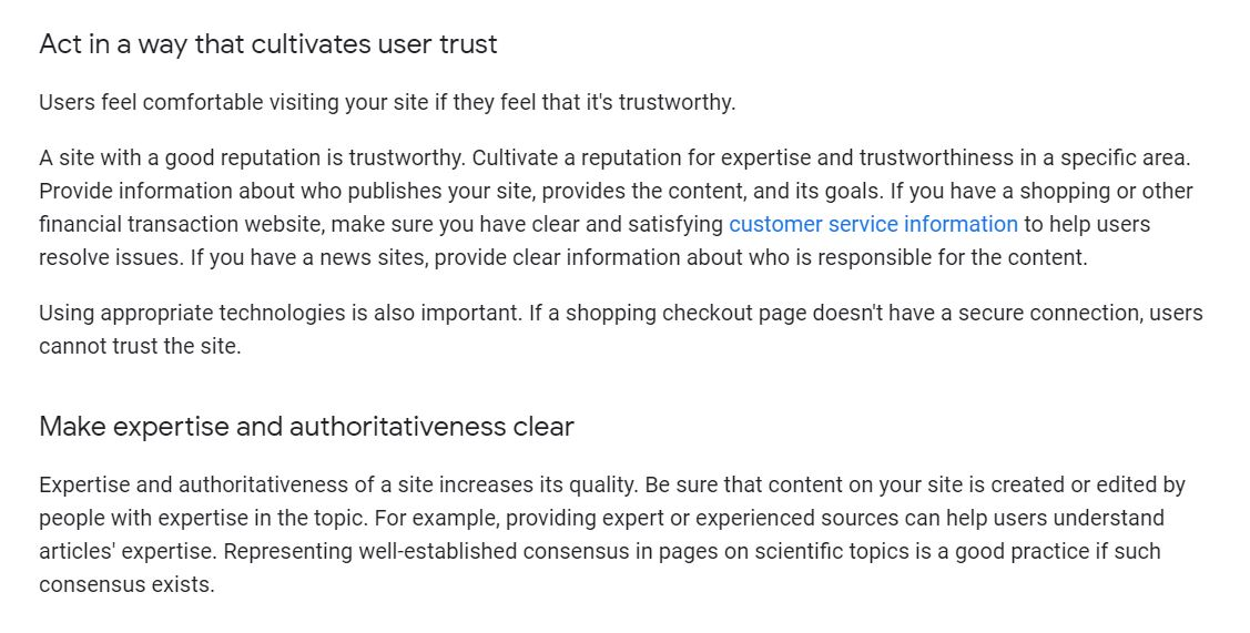 what google says about user trust